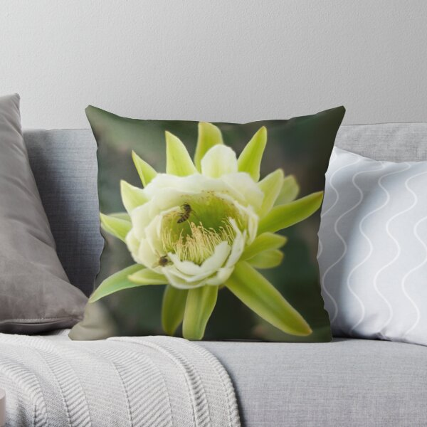 Princess of the Night - Bloom with Playful Bees Throw Pillow