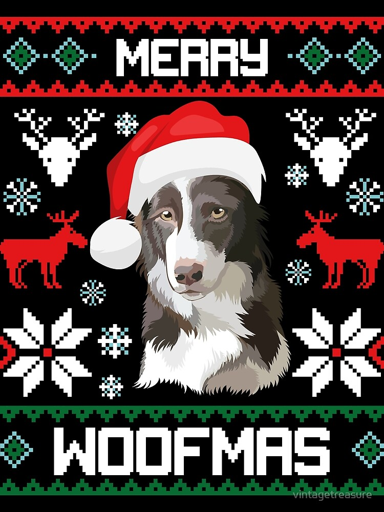 """Border Collie Dog Merry Woofmas Christmas Gift"" Scarf by ..."