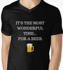 Wonderful Time for a Beer Funny Xmas Men's V-Neck T-Shirt