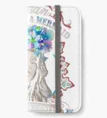 APRIL WOMAN THE SOUL OF MERMAID BLUE FLOWERS  iPhone Wallet/Case/Skin