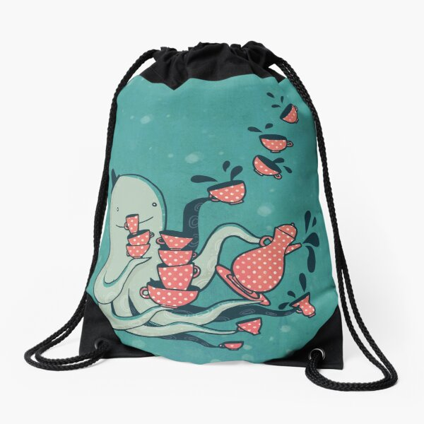 Tea and Tentacles Drawstring Bag