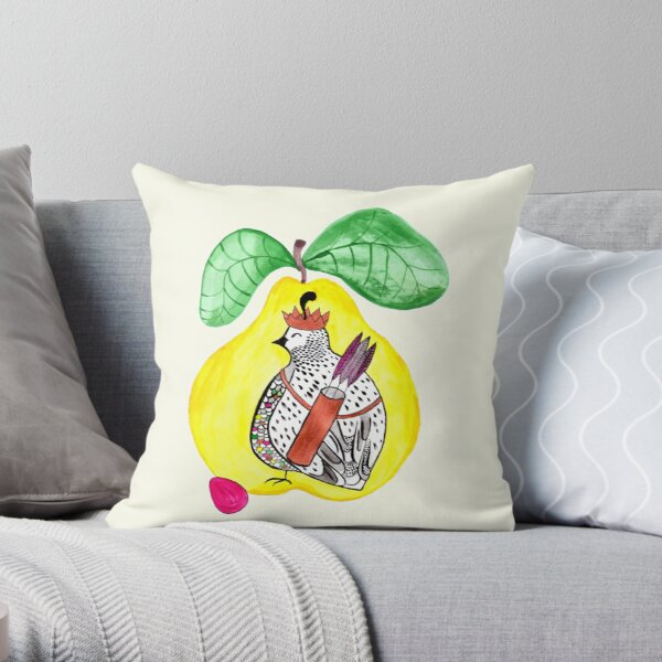 Quail in a Quince Throw Pillow