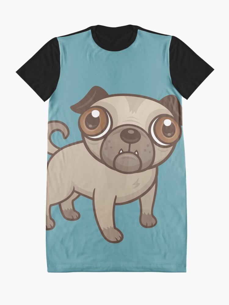 Alternative Ansicht von Mops-Welpen-Karikatur T-Shirt Kleid
