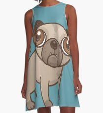 Pug Puppy Cartoon A-Line Dress