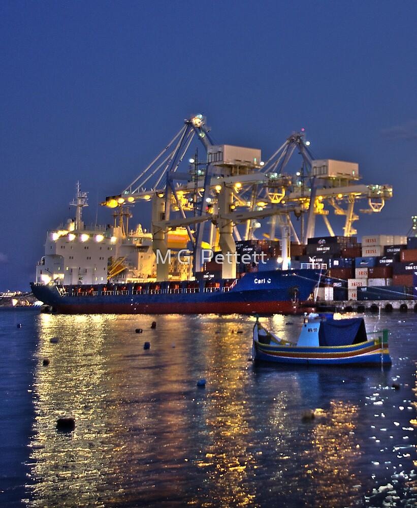 Dusk at Malta Freeport by M G  Pettett