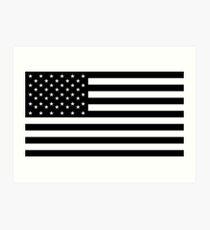 American Flag, STICKER, Stars & Stripes, USA, America, Black on white Art Print
