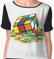 Melted Rubiks Cube  Women's Chiffon Top