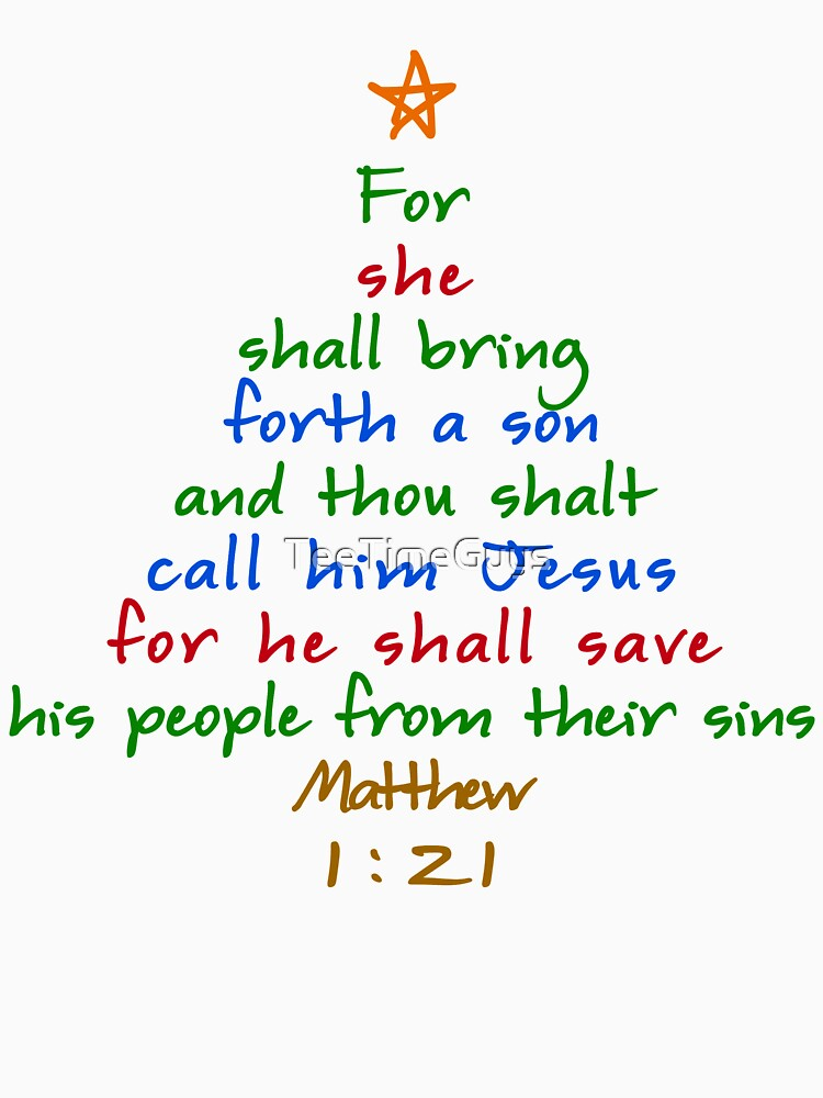 """For She Shall Bring Forth Bible Verse Christmas Tree"" T ..."