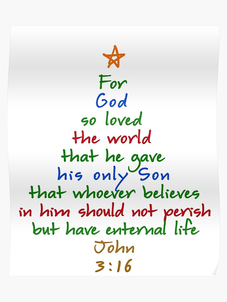 Bible Verses For Christmas.For God So Loved The World Bible Verse Christmas Tree Poster