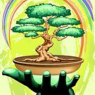 Bonsai Tree and Rainbow on Green Hand - Protecting Nature  by BluedarkArt