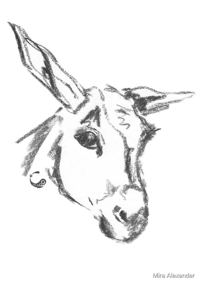 Esel - Charcoal Animals von Mira Alexander