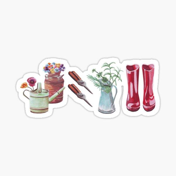 Gardening design with red garden boots  Sticker