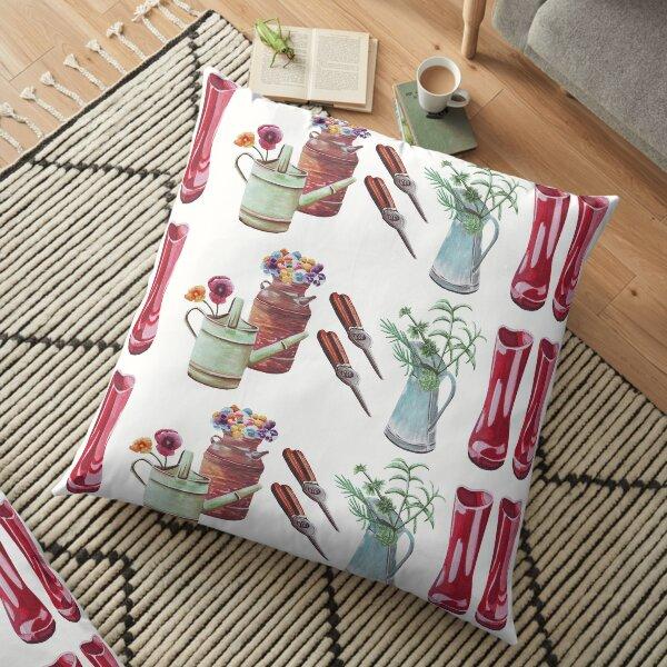 Gardening design with red garden boots  Floor Pillow