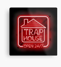 Welcome to the Trap House - red neon 247 - all day / all night Metal Print