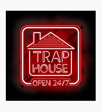 Welcome to the Trap House - red neon 247 - all day / all night Photographic Print