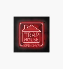 Welcome to the Trap House - red neon 247 - all day / all night Art Board