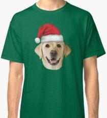 Camiseta clásica Sombrero de Santa Labrador amarillo Labrador Labrador Christmas Holiday