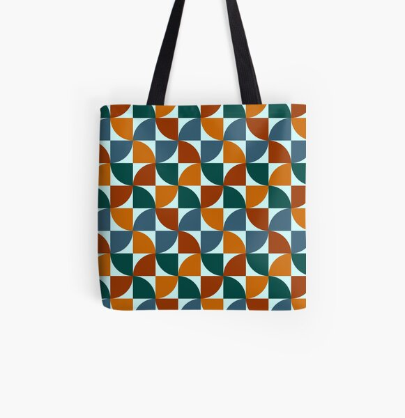 Blue and Orange Mid Century Mod All Over Print Tote Bag
