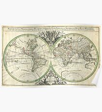 1691 Sanson Map of the World on Hemisphere Projection - Geographicus - World2-sanson-1691 Poster