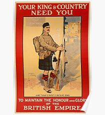 Your King and Country Need You, British Empire Poster