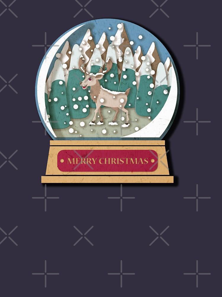 Merry Christmas Snowglobe Reindeer by PrintablesP