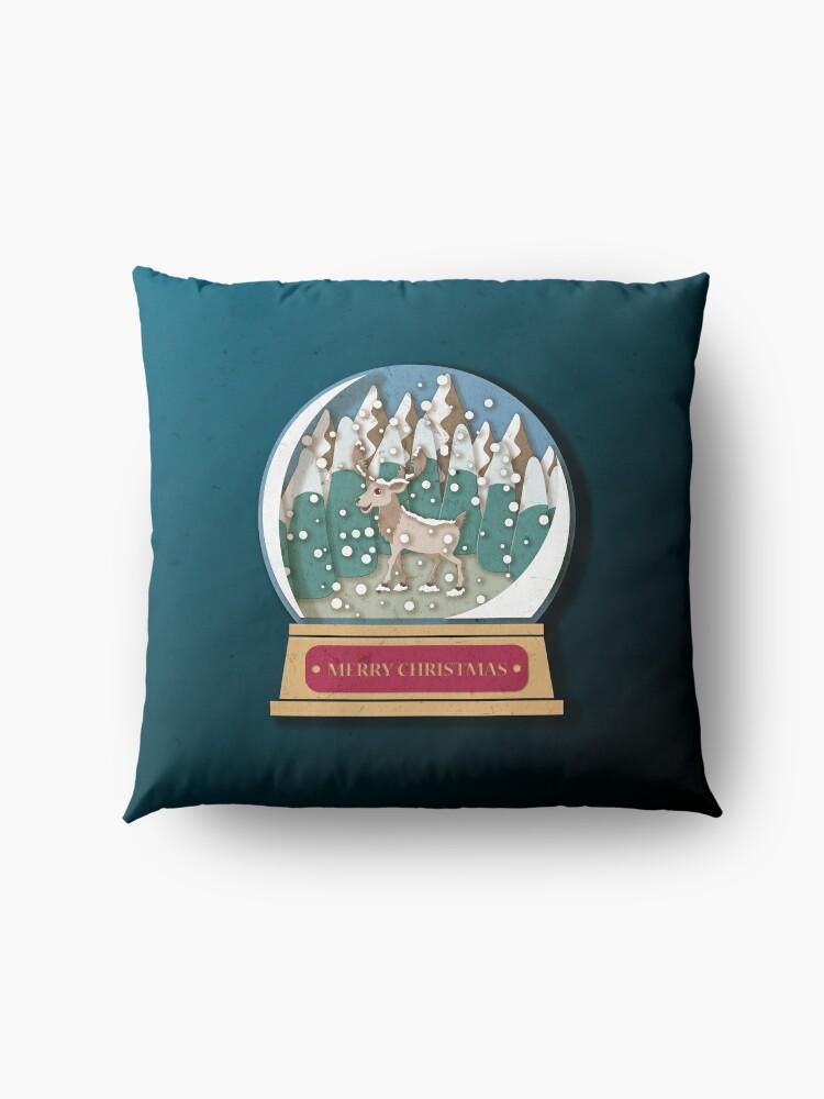 Alternate view of Merry Christmas Snowglobe Reindeer Floor Pillow