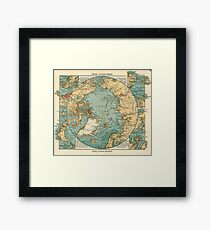 Antique Maps - Old Cartographic Maps - Antique Map Of North Pole And Arctic Ocean In German Framed Print