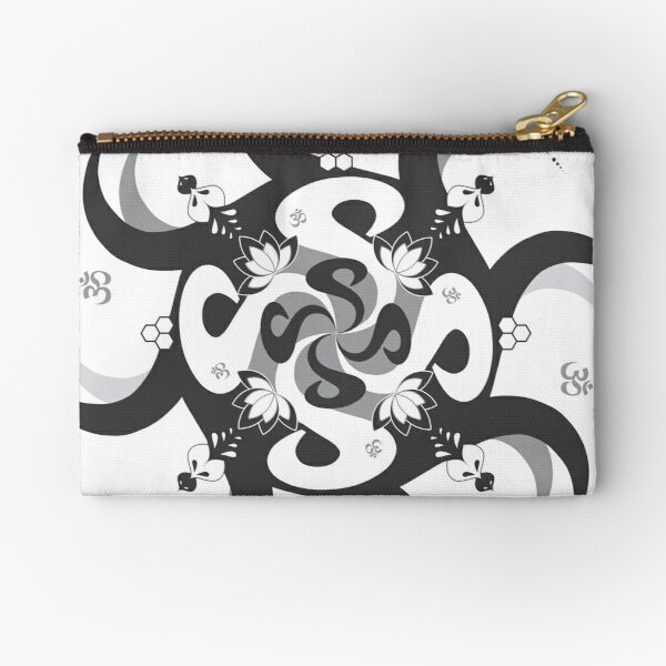 Shee Mandala Spiral with Om and Lotus Symbol Zipper Pouch