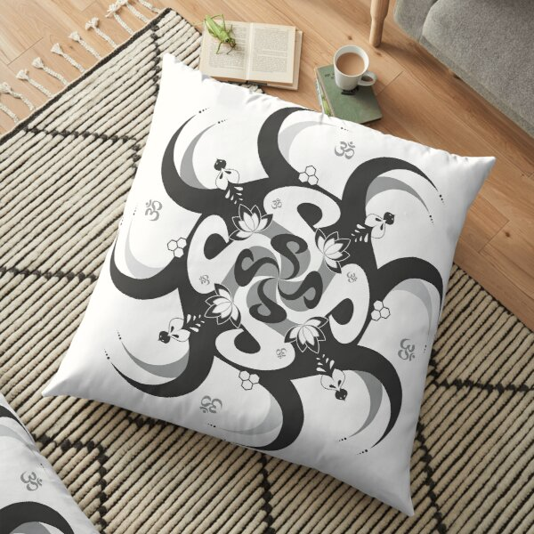 Shee Mandala Spiral with Om and Lotus Symbol Floor Pillow