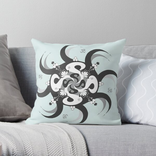 Shee Mandala Spiral with Om and Lotus Symbol Throw Pillow