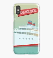 Travel Banner. Sea Holidays. Passenger Ship. Cruise Liner. Tourism Industry.  iPhone Case/Skin