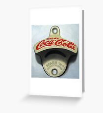 Open Up = still life antique coca cola bottle opener oil painting Greeting Card