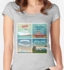 Travel Banners. Sea Holidays. Passenger Ship. Travel by Car. Air Travel. Travel by Train. Tourism Industry.  Women's Fitted Scoop T-Shirt