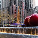 A Christmas Card from New York City – Two Giant Red Balls and Radio City Music Hall  by Georgia Mizuleva