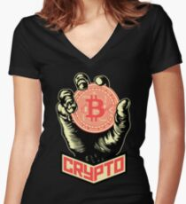 CRYPTO Women's Fitted V-Neck T-Shirt