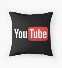 YouTube Full Logo - Red on Black Throw Pillow