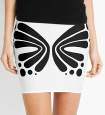 Graphic Butterfly B&W - Shee Vector Shape Mini Skirt