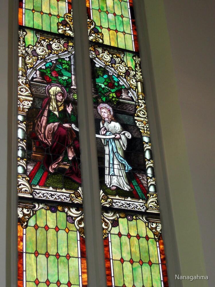 Stained glass window from St. Bernard's Catholic Church  by Nanagahma