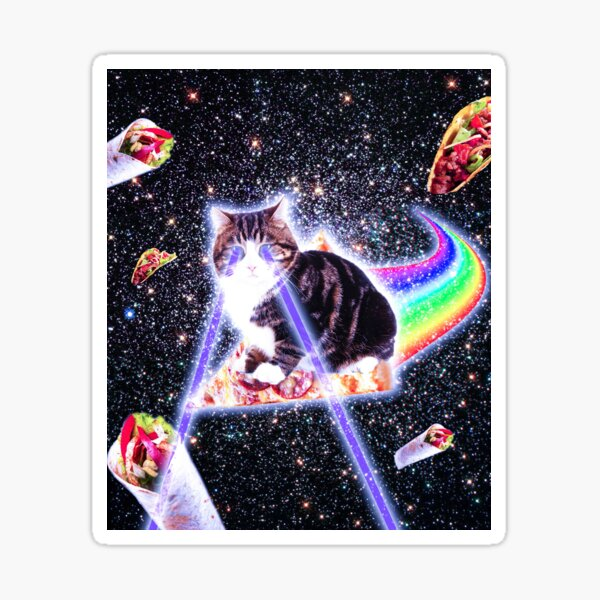 Laser Eyes Space Cat Riding Rainbow Pizza Sticker