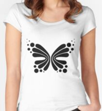 Graphic Butterfly B&W - Shee Vector Shape Women's Fitted Scoop T-Shirt