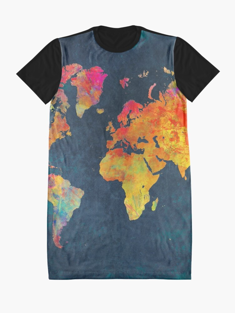 Alternate view of World Map  Graphic T-Shirt Dress