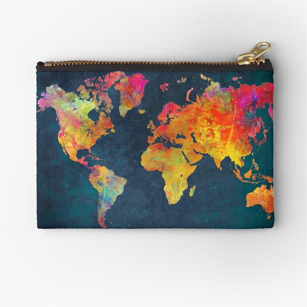 World Map  Zipper Pouch
