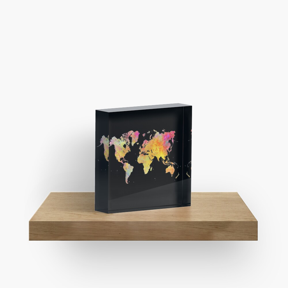 World Map  Acrylic Block