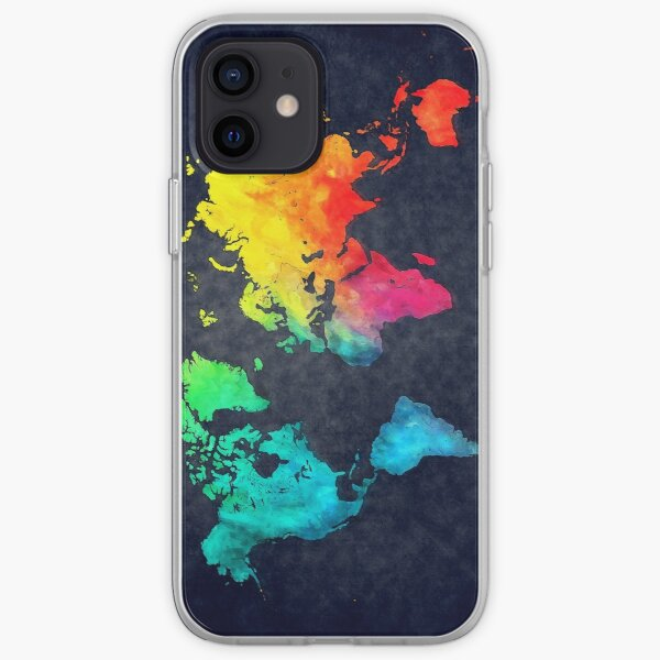 world map watercolor 6 #map #worldmap iPhone Soft Case
