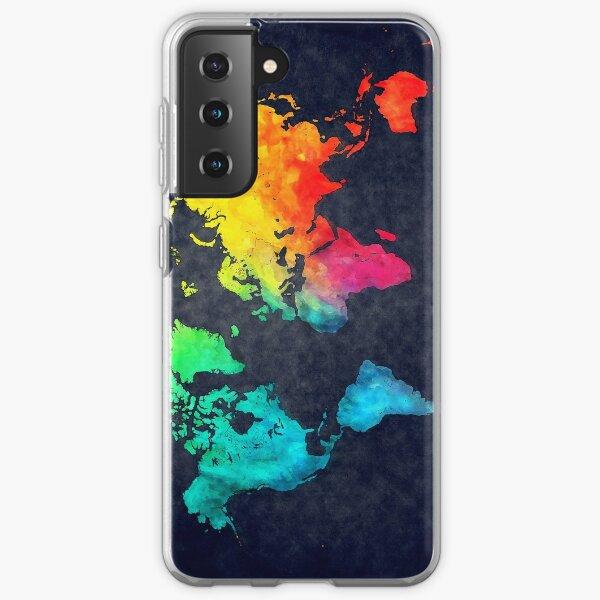 world map watercolor 6 #map #worldmap Samsung Galaxy Soft Case