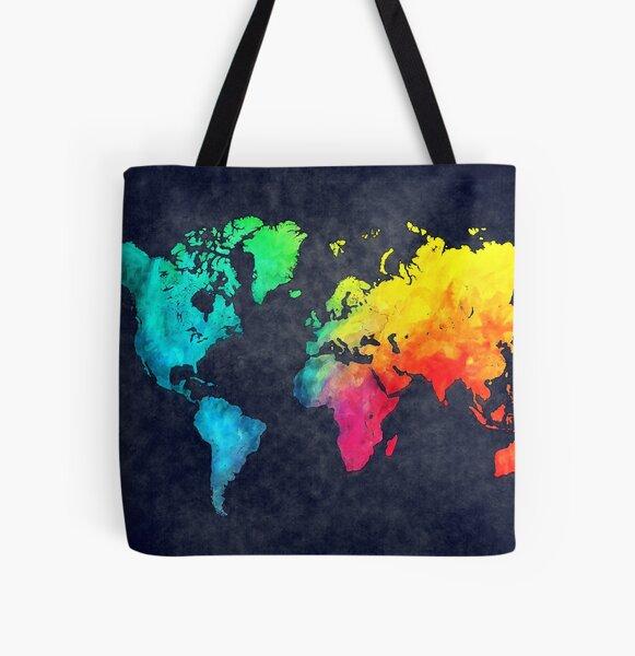 world map watercolor 6 #map #worldmap All Over Print Tote Bag