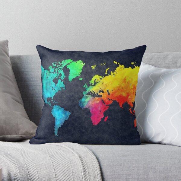 world map watercolor 6 #map #worldmap Throw Pillow