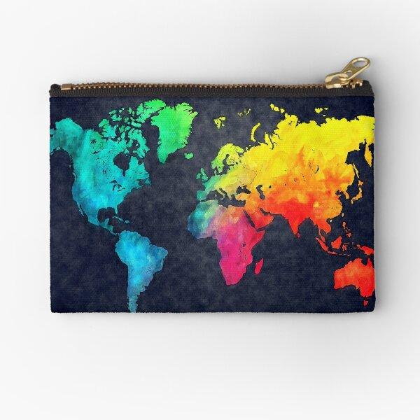 world map watercolor 6 #map #worldmap Zipper Pouch