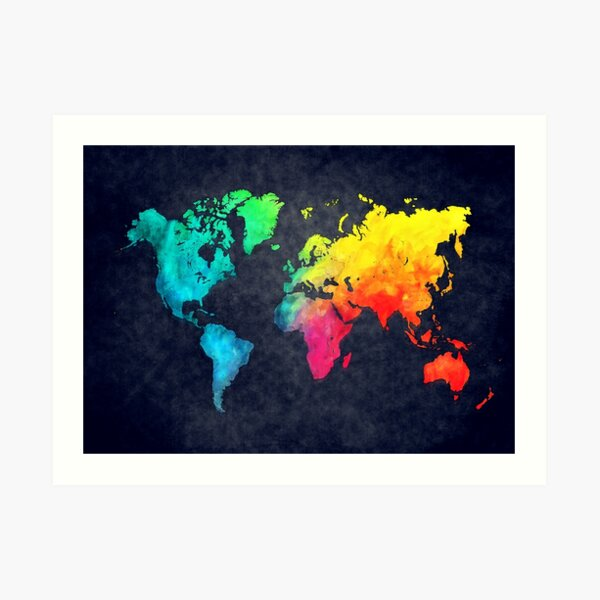 world map watercolor 6 #map #worldmap Art Print