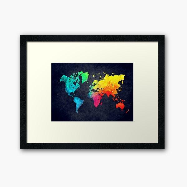 world map watercolor 6 #map #worldmap Framed Art Print
